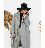 Пальто прямого кроя кашемировое №135Б-Серый, фото 2