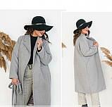 Пальто прямого кроя кашемировое №135Б-Серый, фото 4