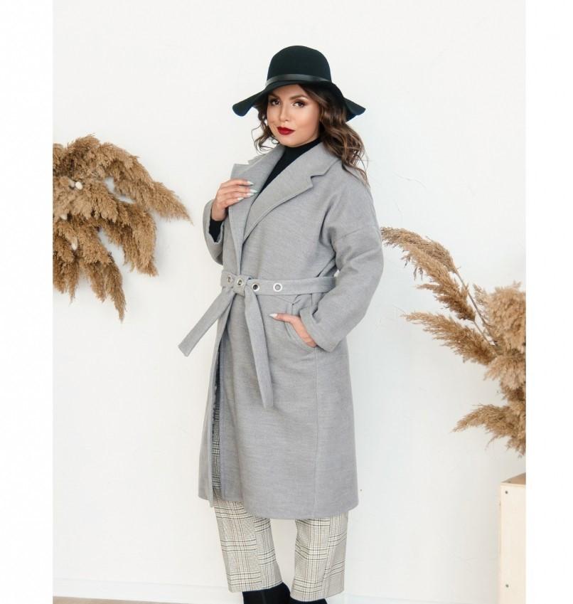 Пальто прямого кроя кашемировое №135Б-Серый