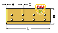 Нож ковша (режущая кромка) 2060х150х20 мм Caterpillar 1471040
