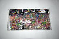 Резиночки для плетения Rainbow Loom 200шт. (разноцветные с розовой точкой)