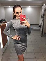 Обтягивающее осеннее платье (цвет - светло-серый, ткань - ангора) Размер S, M, L (розница и опт)