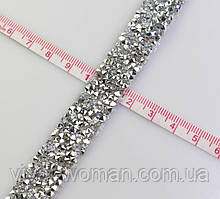 Стразовая термо тесьма из конусных страз Crystal/Silver, шир.1,5см. Цена за 0,5 м
