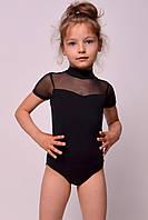 Купальник для танцев и гимнастики со вставкой из стрейч-сетки