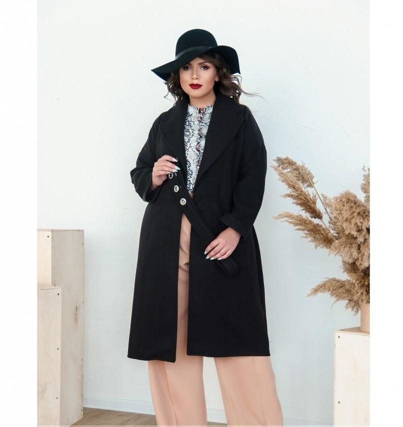 Пальто прямого кроя кашемировое №135-Черный