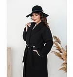 Пальто прямого кроя кашемировое №135-Черный, фото 4