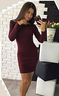 Платье кружево (цвет - бордо, ткань - ангора) Размер S, M, L (розница и опт)