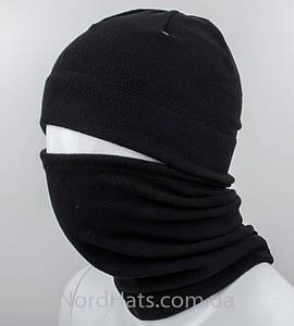 """Флисовый комплект шапка+бафф """"Эверест"""", (Черный)"""