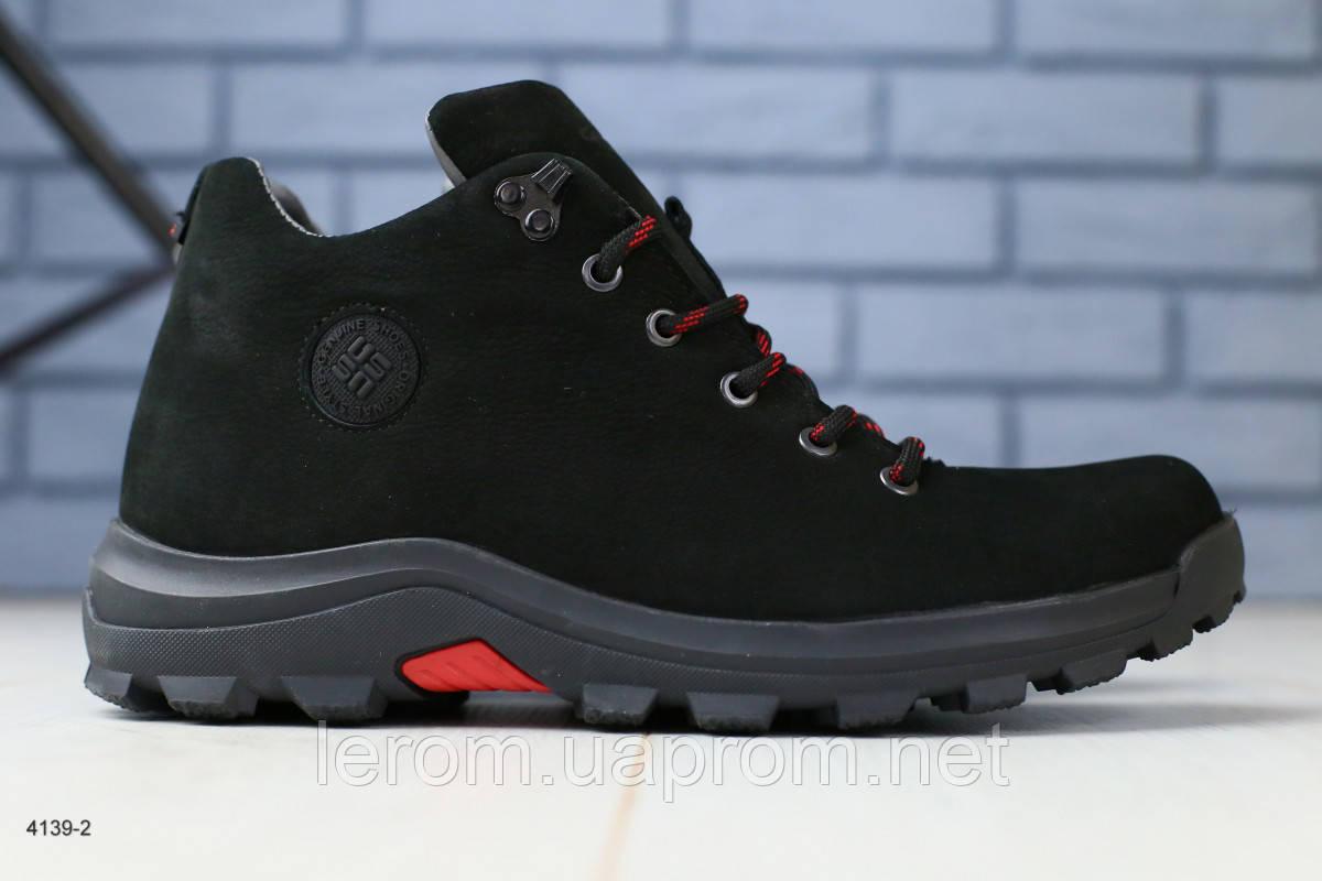 Зимние мужские ботинки на шнурках из нубука 40