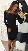 Черное платье кружево (цвет - черный, ткань - ангора) Размер S, M, L (розница и опт)