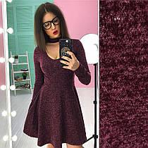 Платье с чокером (цвет - бордо, ткань - ангора софт) Размер S, M, L (розница и опт)