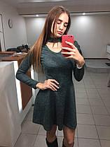 Платье с чокером осеннее (цвет - зеленый, ткань - ангора софт) Размер S, M, L (розница и опт)