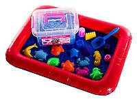 Игровой набор кинетический песок Super Sand в пластиковом боксе с формочками и песочницей