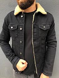 Мужская джинсовка куртка осенняя на меху черная Турция. Живое фото