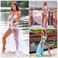 Женская пляжная накидка розовая/мятная/белая