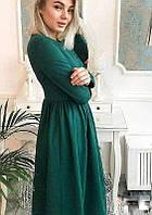Платье длинное повседневное (цвет - зеленый, ткань - креп костюмка класса люкс) Размер S, M, L (розница и опт)