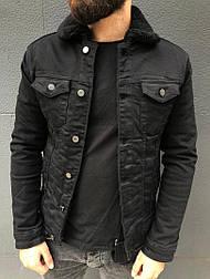 Мужская джинсовка куртка осенняя на меху с черным мехом Турция. Живое фото