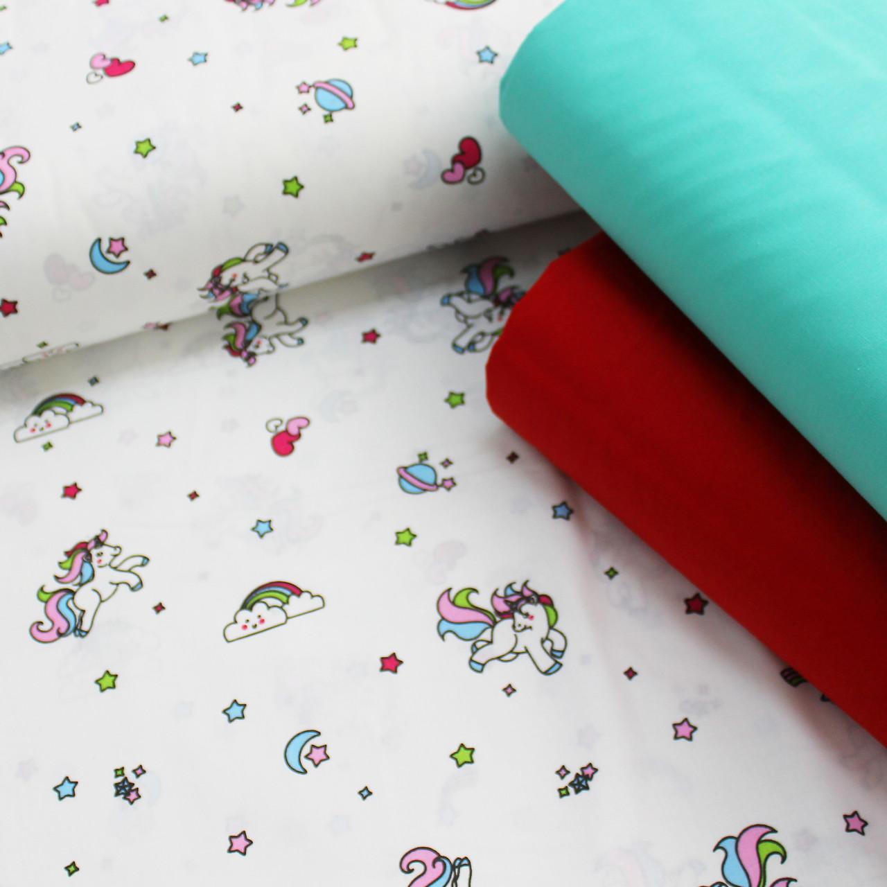 Хлопковая ткань (ТУРЦИЯ шир. 2,4 м) маленькие единороги с розово-голубыми хвостами и красными сердечками