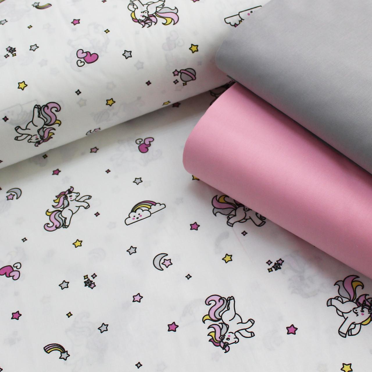 Хлопковая ткань (ТУРЦИЯ шир. 2,4 м) маленькие единороги с розово-серыми хвостами и розовыми сердечками