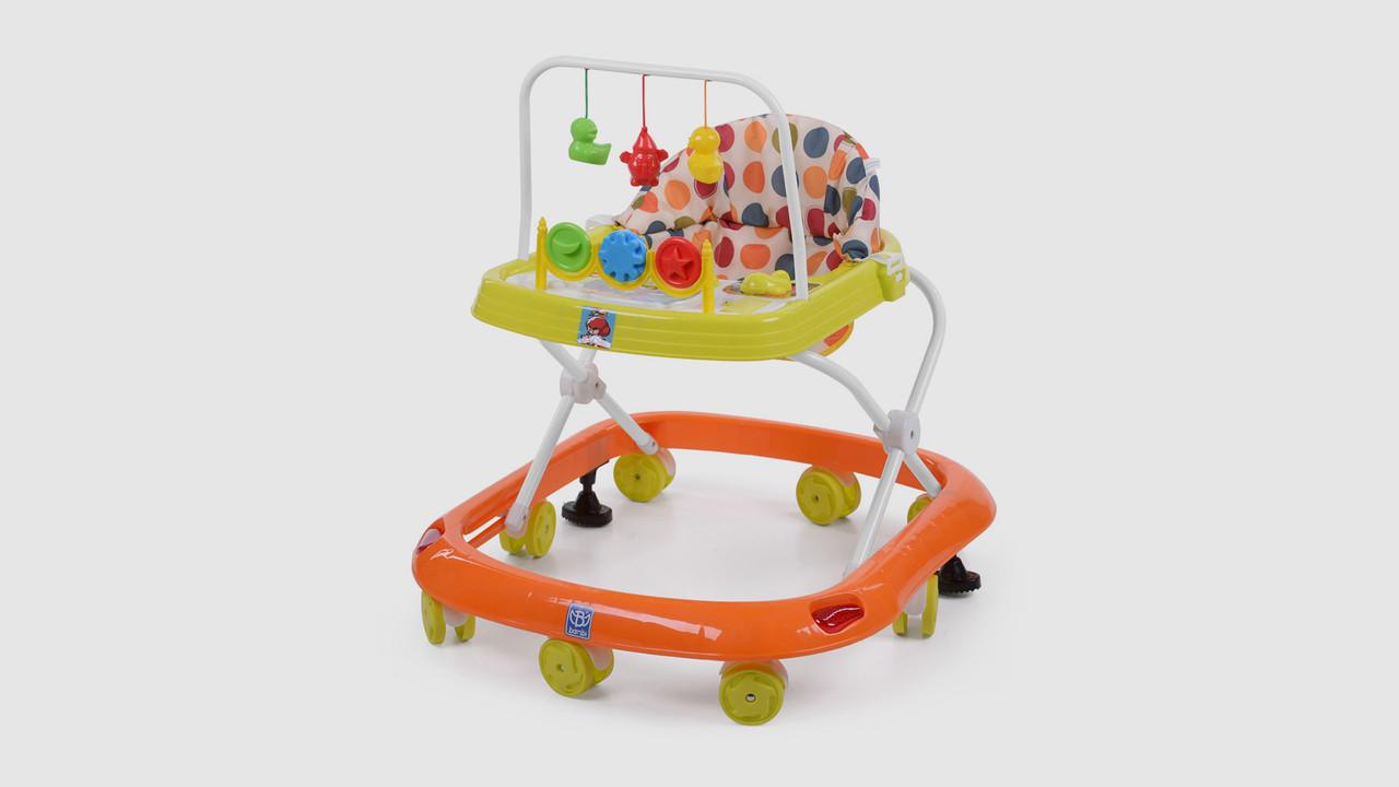 Ходунки BAMBI. M0541C-3.Дуга с подвесками.Музыка.8 колес.Стопор.Оранжево-зеленый