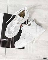 Женские кроссовки на толстой подошве в белом цвете, натуральная кожа (в наличии и под заказ 10 дней)