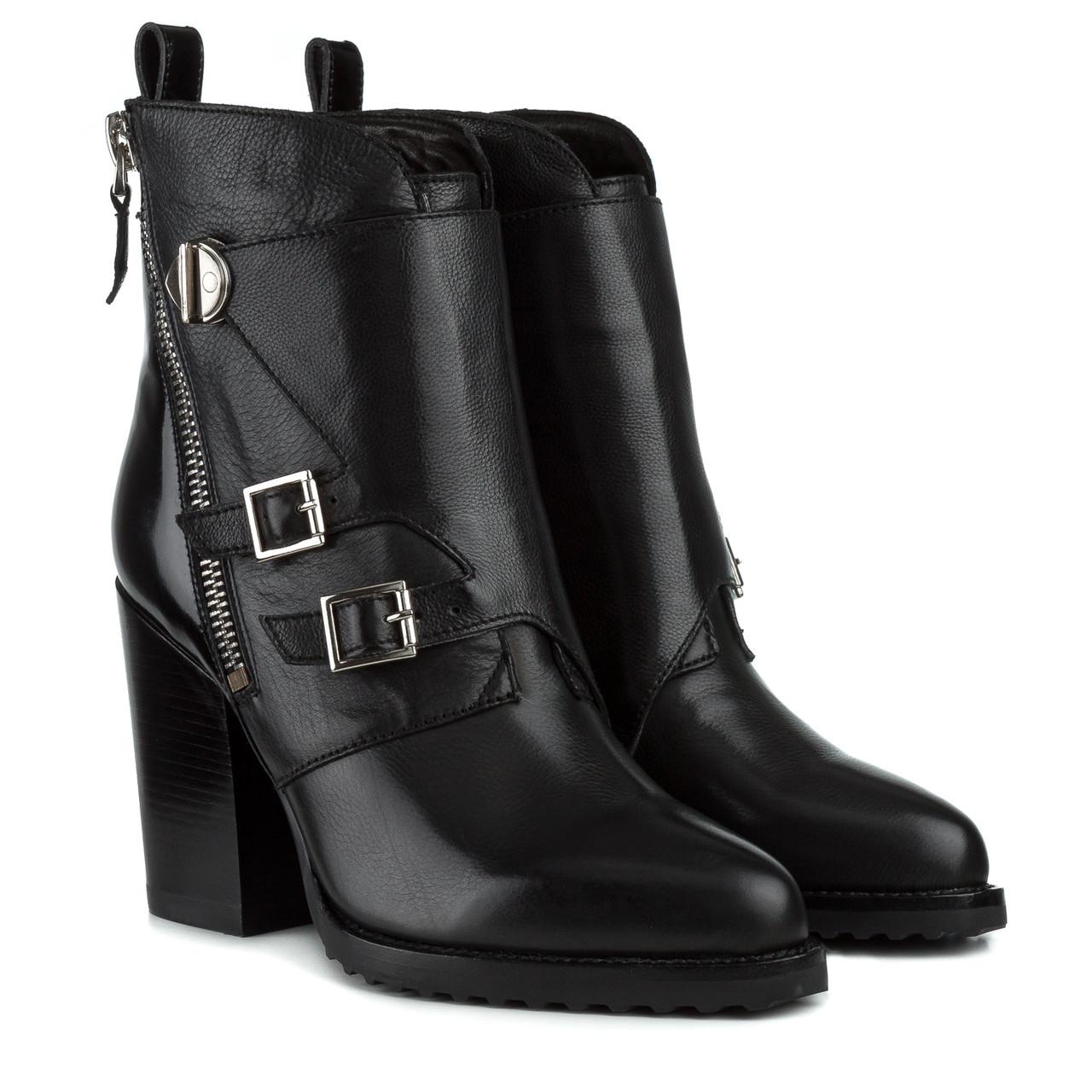 Ботильоны женские BALIDONER (кожаные, стильные, на высоком каблуке, оригинальный дизайн)