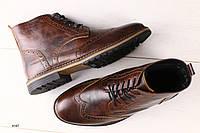 Мужские кожаные коричневые ботинки Оксфорд