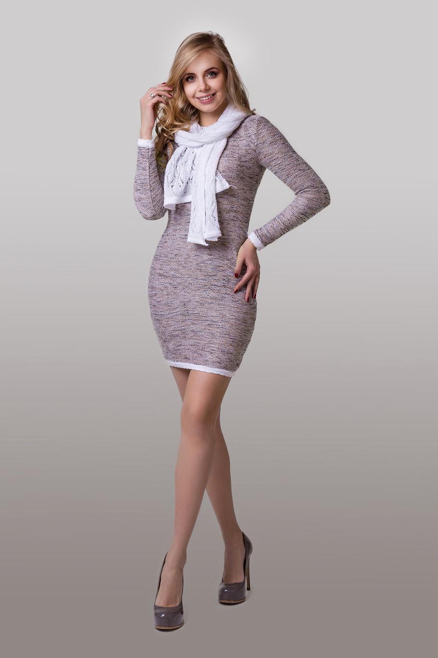 Тепле в'язане плаття в пудровом кольорі розмір 44-46