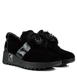 Туфли женские BROCOLI (черные, замшевые, с оригинальным декором)
