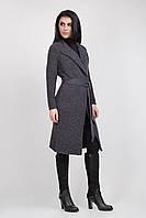 Теплый осенний кардиган / пальто из пряжи темно-серый в размерах 42-46, 46-50