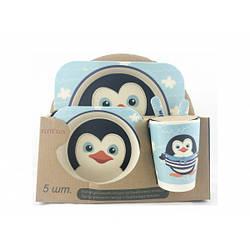 """Антибактериальный набор для кормления детей бамбуковый """"Пингвин"""""""