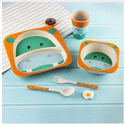 Бамбукова посуда для детей Бегемотик Hippo