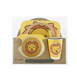 Бамбуковая посуда для детей антибактериальная 5 предметов