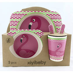 Детский набор посуды эко бамбуковый 5 приборов Фламинго