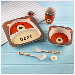 Безопасная детская посуда из бамбуковых волокон Медвежёнок Bear