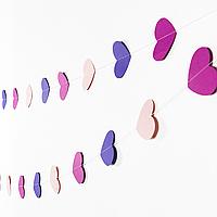 Гирлянда бумажная сердечки (розовый, фиолетовый, сиреневый), 160 см