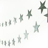Гирлянда бумажная звезды серебро, 450 см