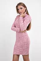 Розовое облегающее вязаное красивое платье с геометрическим узором размеры 44, 48