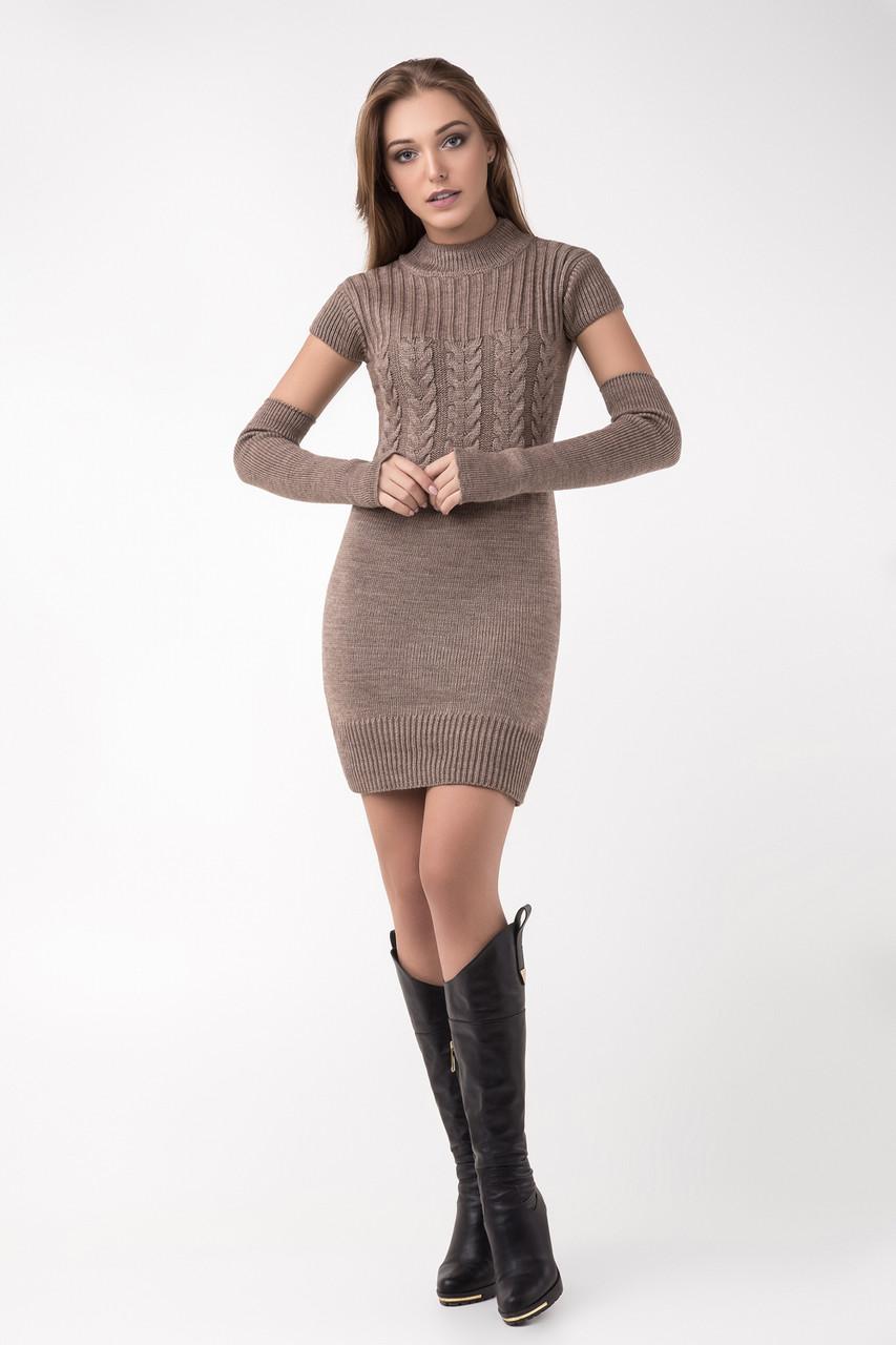 Молодіжне в'язане теплу сукню зі знімними рукавами різні кольори 42-44, 44-46, 46-48