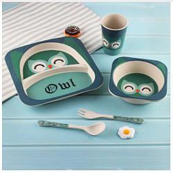 Детская посуда из эко – волокон бамбука синие совушки Owl YOOKIDOO
