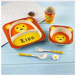 Для детей набор бамбуковой посуды антикбактериальный Лев Lion