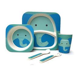 Бамбуковая посуда для деток противоаллергенная Слоник Elephant набор 5 в 1
