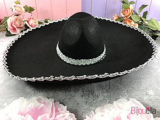Шляпа сомбреро с большими полями черный цвет для маскарадной вечеринки 60 см диаметр