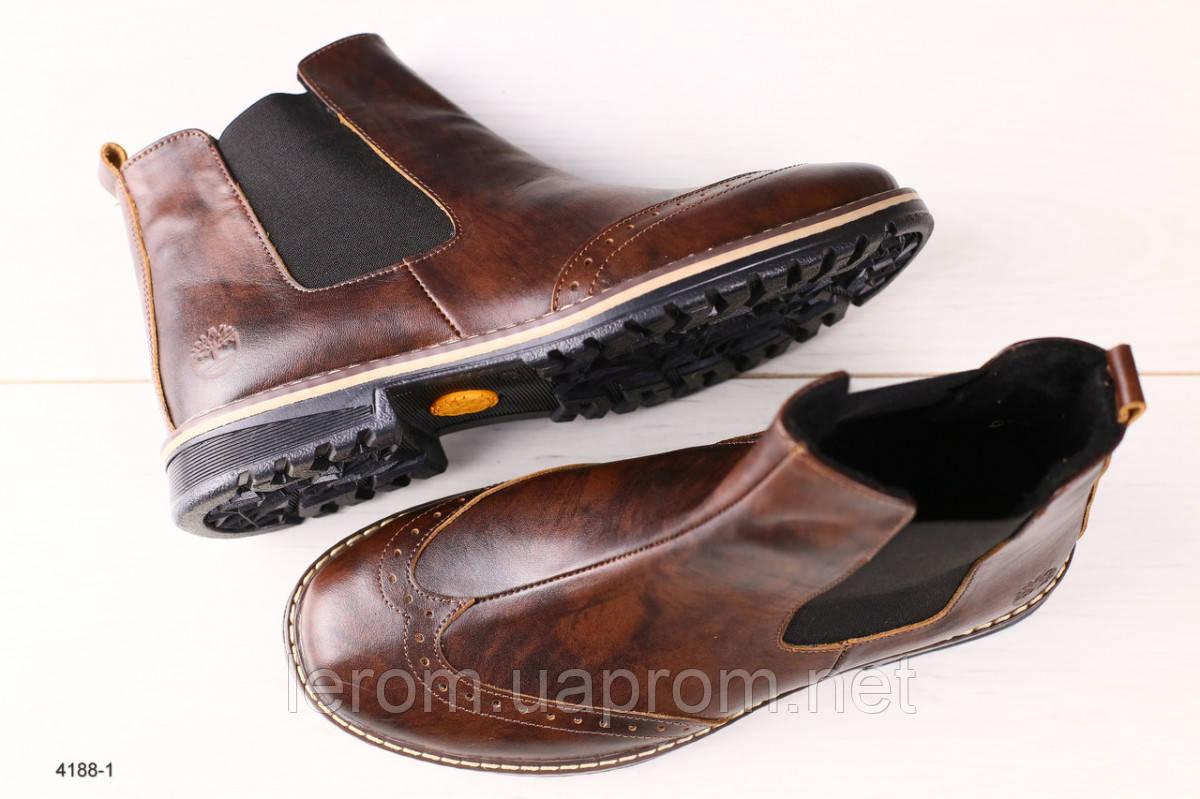 Мужские кожаные коричневые ботинки челси