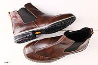 Мужские кожаные коричневые ботинки челси, фото 1