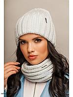 """Комплект шапка и шарф вязаные """"Женева """" небесный 904033, фото 1"""