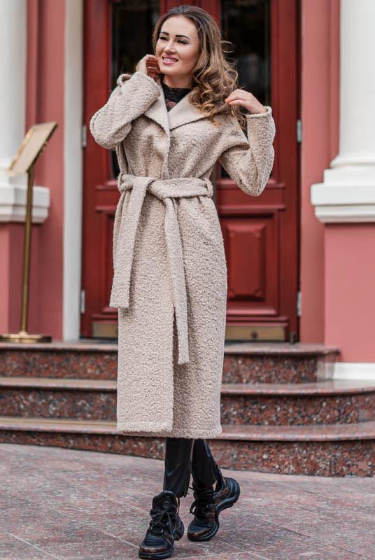 Демисезонное пальто с капюшоном  Мариз букле