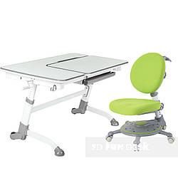 Комплект Растущая парта FunDesk Amare Grey + Подростковое ортопедическое кресло SST1 Green