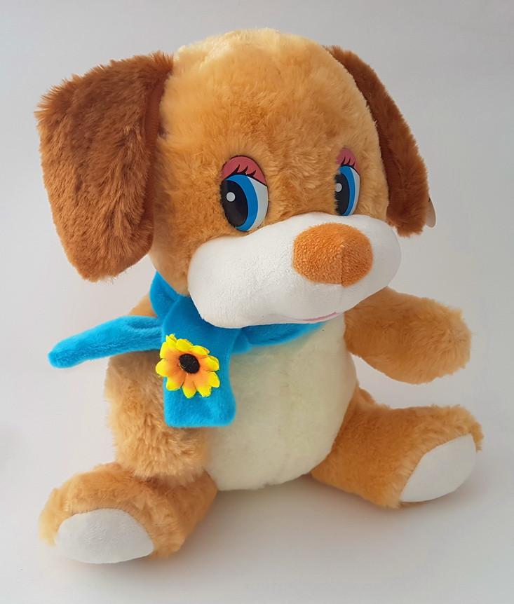 Собака плюшевая в голубом шарфике 29 см
