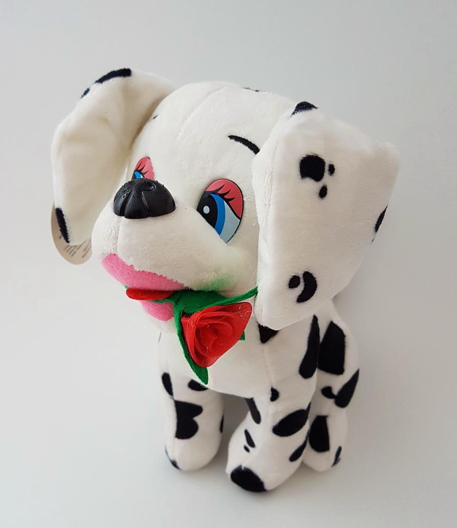 Собака Далматинец с розой мягкая игрушка 24 см